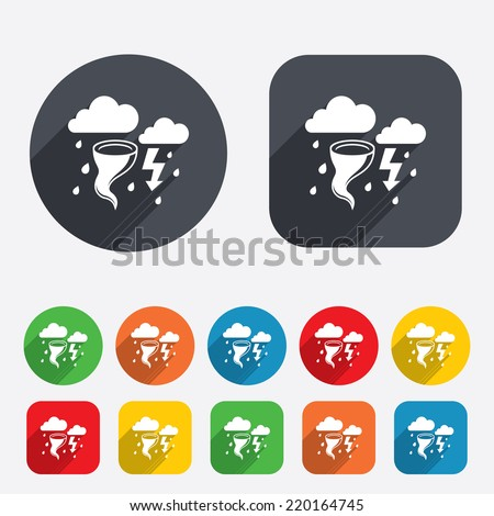 Storm bad weather sign icon. Clouds with thunderstorm. Gale hurricane symbol. Destruction and disaster from wind. Insurance symbol. Circles and rounded squares 12 buttons. Vector - stock vector