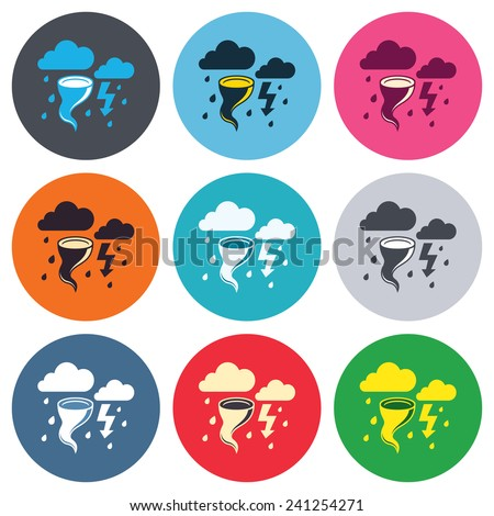 Storm bad weather sign icon. Clouds with thunderstorm. Gale hurricane symbol. Destruction and disaster from wind. Colored round buttons. Flat design circle icons set. Vector - stock vector