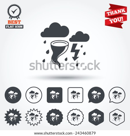 Storm bad weather sign icon. Clouds with thunderstorm. Gale hurricane symbol. Destruction and disaster from wind. Insurance symbol. Circle, star, speech bubble and square buttons. Vector - stock vector