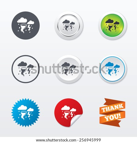 Storm bad weather sign icon. Clouds with thunderstorm. Gale hurricane symbol. Destruction and disaster from wind. Insurance symbol. Circle concept buttons. Metal edging. Star and label sticker. Vector - stock vector
