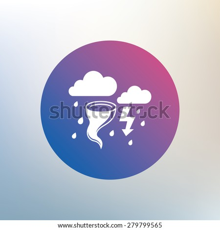 Storm bad weather sign icon. Clouds with thunderstorm. Gale hurricane symbol. Destruction and disaster from wind. Insurance symbol. Icon on blurred background. Vector - stock vector
