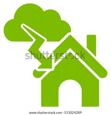 Storm Building vector icon. Flat eco green symbol. Pictogram is isolated on a white background. Designed for web and software interfaces.