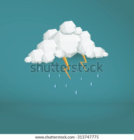 Storm cloud low poly vector background. Polygonal weather icon. Modern 3d design wallpaper. Eps10 vector illustration. - stock vector