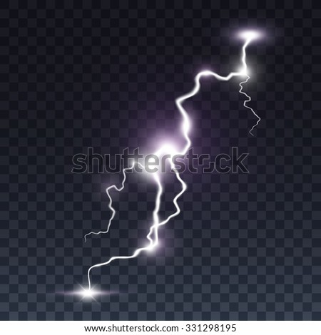 Storm lightning bolt. Isolated on transparent black background. Vector illustration, eps 10. - stock vector