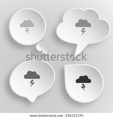 Storm. White flat vector buttons on gray background. - stock vector