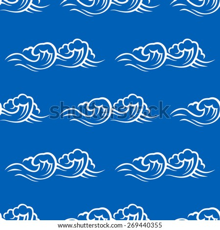 Stormy sea seamless pattern with white wave and surf on blue background for wallpaper or textile design - stock vector