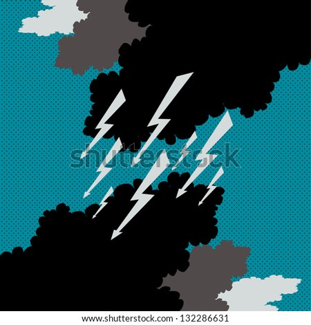 Stormy Weather Sky Flash Clouds Black Cyan Gray Vector Illustration - stock vector