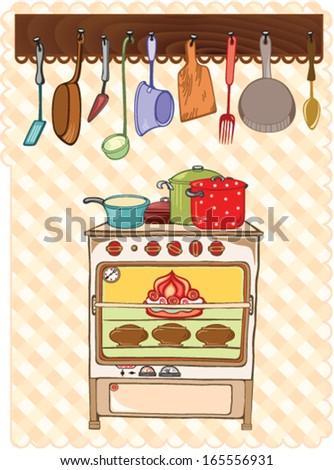 Stove and kitchen tool - stock vector