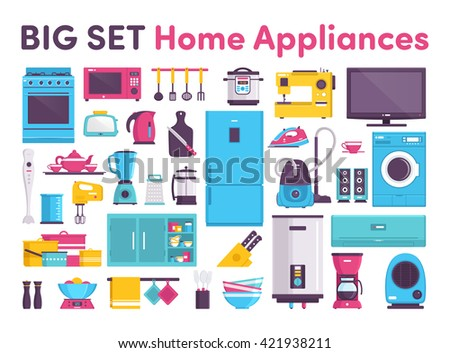 stove, refrigerator, air conditioner, microwave oven, slow cooker, TV, toaster, teapot, blender, grater, mixer, pots, dishes, tableware, water heater, wardrobe, coffee maker, heater, cleaner, iron - stock vector