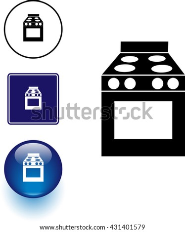 stove symbol sign and button - stock vector