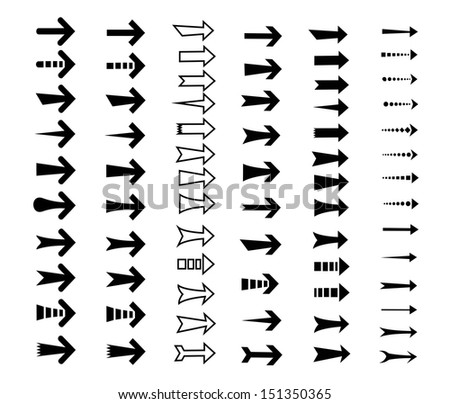 straight arrows icon set, various style, edge, curve, direct, direction, link, next, point, sharp and blunted on white background - stock vector
