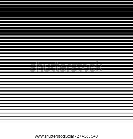 Straight, parallel lines from thick to thin to down. Horizontally repeatable  - stock vector