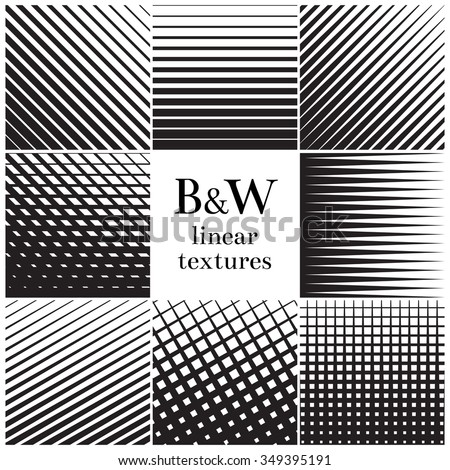 Straight, parallel thick to thin lines and grids pattern set.  Monochrome vertical and horizontal lattice, stripe linear. Vector illustration - stock vector