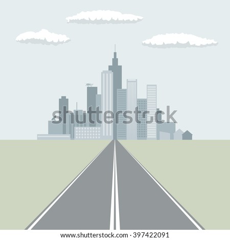 Straight road leading to the big city flat design vector illustration. - stock vector