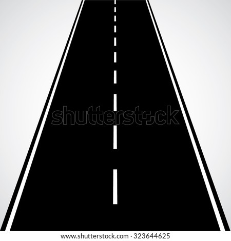 Straight Road With White Lines and Dashed Lines . Vertical Vector Road in Perspective. Vector Icon . - stock vector
