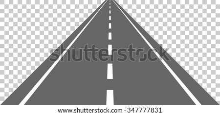 Straight road with white markings. Vector illustration - stock vector