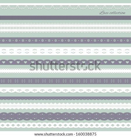 Straight white and purple lace collection. Vector illustration.  - stock vector