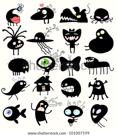 Strange looking creatures - stock vector