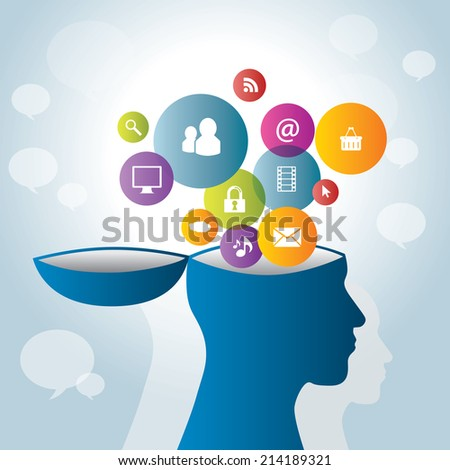 strategic communication collaboration with social networks and internet - stock vector