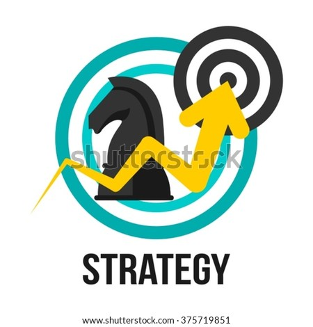 Strategy Business Concept Vector Design With Chess Knight, Aim And Success Sign - stock vector
