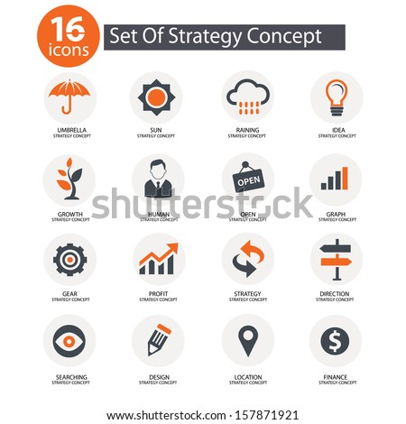 Strategy Concept icons,vector,Orange version - stock vector