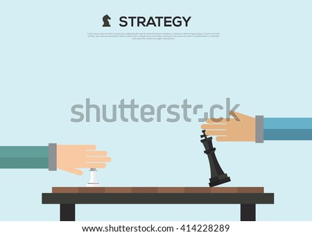 Strategy concept of two business people playing chess. Vector illustration - stock vector