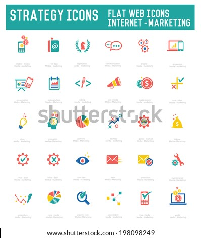 Strategy icon set on white background,vector - stock vector