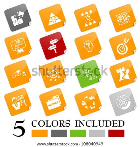 Strategy icons - sticky series - stock vector