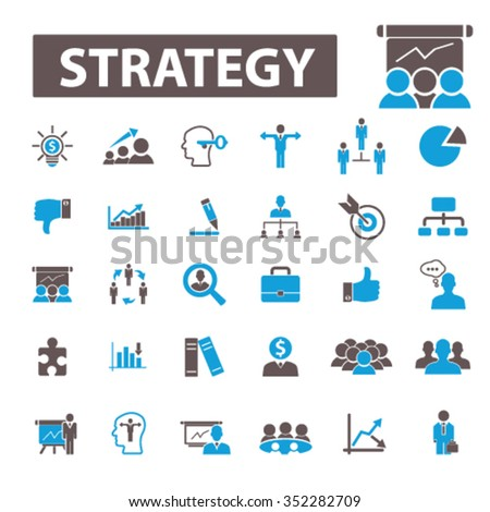 Strategy  icons, strategy concept, business strategy, strategical decision signs vector concept set for infographics, mobile, website, application  - stock vector