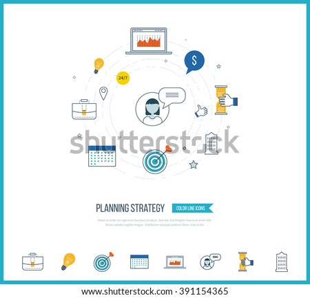 Strategy planning and marketing strategy concept. Investment growth. Investment management. Planning process. Color icons for data analysis, strategic planning, successful business.  - stock vector
