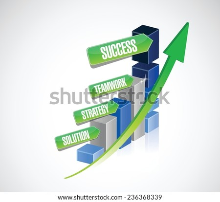 strategy solution, teamwork business success graph illustration design over a white background - stock vector