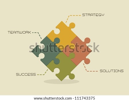 strategy, solutions, success and teamwork conceptual. vector illustration - stock vector
