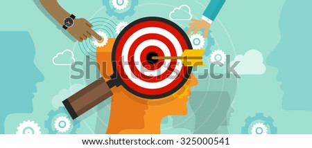 strategy target positioning in consumer customer mind marketing market concept position human head chess - stock vector