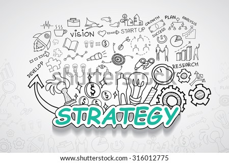 Strategy text, With creative drawing charts and graphs business success strategy plan idea, Inspiration concept modern design template workflow layout, diagram, step up options, Vector illustration - stock vector