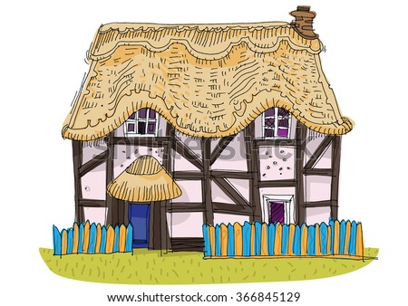 straw covered traditional vintage house - cartoon - stock vector