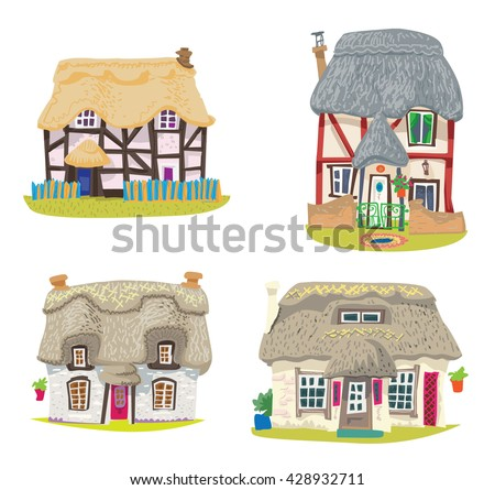 straw covered traditional vintage house - cartoon - coloring book - stock vector