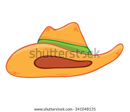 straw hat isolated illustration on white background - stock vector