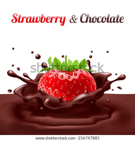 Strawberries dipped in chocolate with splashes. Drop and sweet, food and fresh and liquid - stock vector