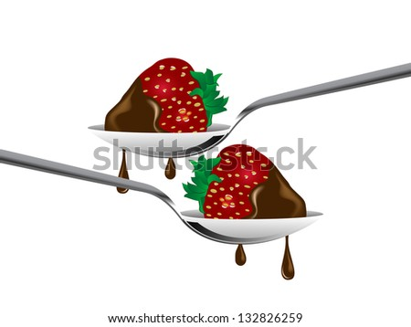 Strawberries on the spoon in chocolate
