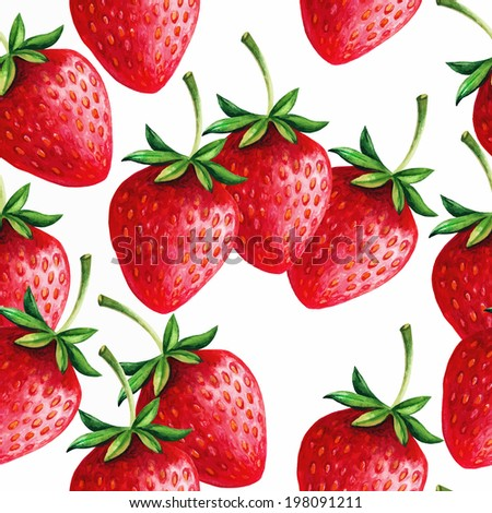 Strawberries seamless hand drawn vector pattern with white background - stock vector