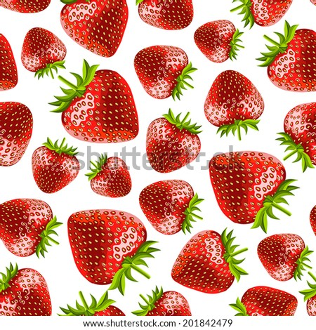 strawberries seamless pattern - stock vector