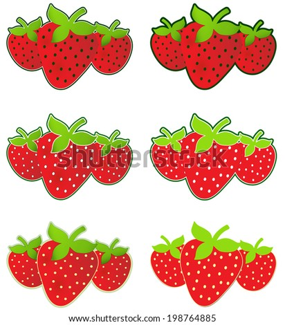 Strawberries - Trio of ripe red strawberries - six different stylized options - seed colors vary, outline varies, options may have gradient colors or be flat colors - stock vector