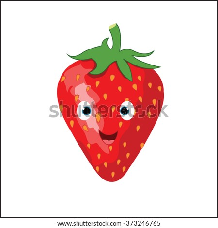 Strawberries vector illustration design with emotion