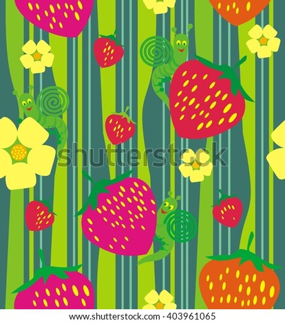 Strawberry and flowers. A seamless pattern of Red strawberry and flowers in green grass and snail on a green background.
