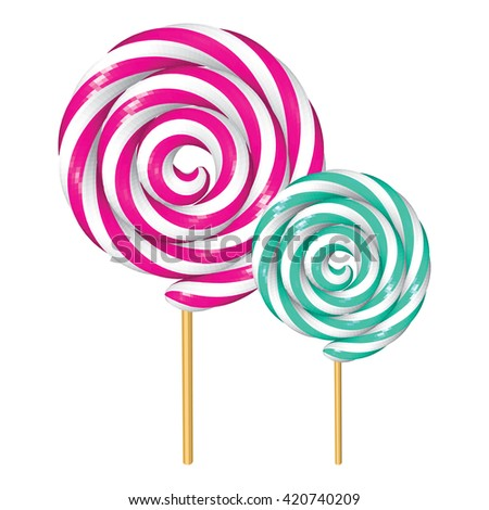 Strawberry and Peppermint Twisted Lollipops Isolated on White. Fuchsia and Turquoise Spiral Candies. Low Poly Realistic Vector illustration. - stock vector