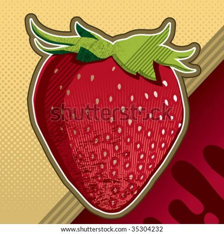 Strawberry artistic background. Vector illustration. - stock vector