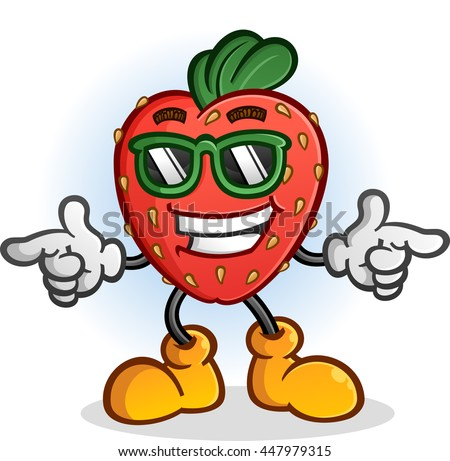 Strawberry Cartoon Character with Attitude Wearing Sunglasses - stock vector