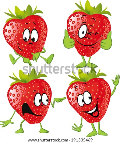 strawberry cartoon with hands isolated on white background - stock vector