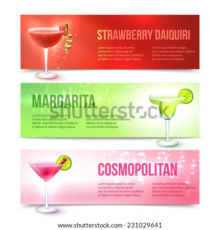 Strawberry daiquiri margarita cosmopolitan cocktails horizontal banner set isolated vector illustration - stock vector