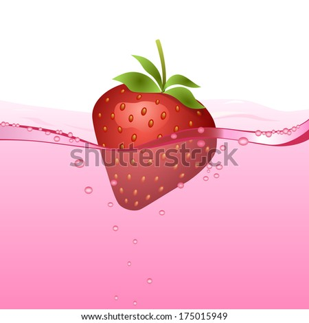 Strawberry drink (vector version; available as raster too) - stock vector